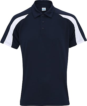 Awdis Just Cool Mens Short Sleeve Contrast Panel Polo Shirt (2XL) (French Navy/Arctic White)