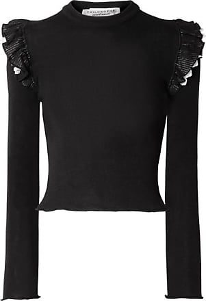 Philosophy di Lorenzo Serafini Ruffled Broderie Anglaise-trimmed Ribbed Wool Sweater - Black