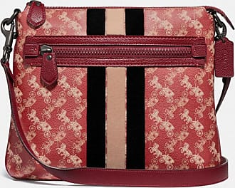 Coach Olive Crossbody With Horse And Carriage Print And Varsity Stripe in Red