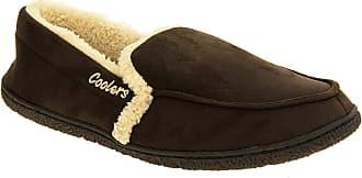 Footwear Studio Mens Coolers Brown Faux Suede Full Back Padded Cosy Slippers UK 11-12