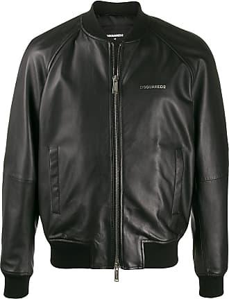 Dsquared2 logo-plaque zipped bomber jacket - Black