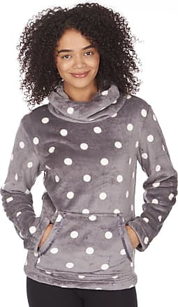 Forever Dreaming Ladies Womens Soft Polka Dot Spot Fleece Bed Jacket Housecoat Grey