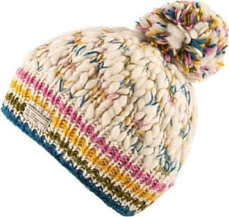 KuSan 100% Wool Moss Yarn Bobble Hat PK1932 (White/Teal)