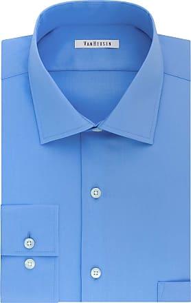 Van Heusen Mens Dress Shirts Tall Fit Flex Solid Spread Collar, Blue Frost, 17.5 Neck 37-38 Sleeve