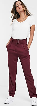 Y.A.S high waisted belted trousers-Red