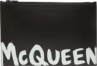 Alexander McQueen Leather Clutch With Logo Mens Black