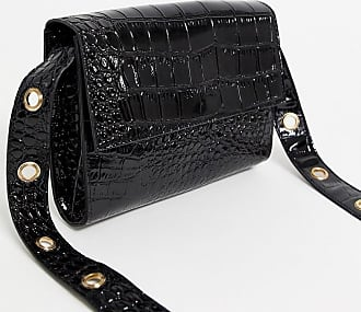 Glamorous crossbody bag in black patent with gold eyelet detail strap