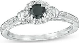 Zales 3/8 CT. T.w. Enhanced Black and White Diamond Frame Collar Engagement Ring in Sterling Silver