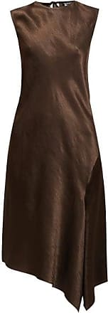 Ann Demeulemeester Asymmetric Bias-cut Hammered Satin Midi Dress - Womens - Brown