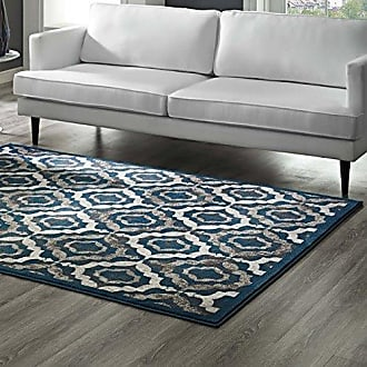 ModWay Modway Kalinda Rustic Vintage Moroccan Trellis 8x10 Area Rug in Ivory, Moroccan Blue and Brown