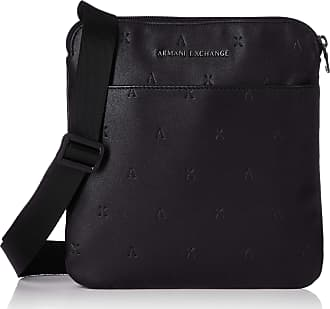 A X Armani Exchange A X Armani Exchange Mens Embossed Faux Leather Crossbody Backpacks, Nero, One size