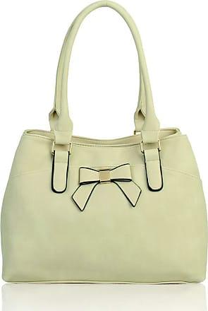 LeahWard Womens Bow Shoulder Bags Large School Handbags R08 (Pearl)