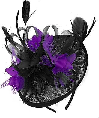 Caprilite Black and Purple Sinamay Disc Saucer Fascinator Hat for Women Weddings Bird Cage Veil Headband