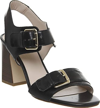 Office Melanie Two Part Buckle Sandal Black Groucho Leather - 5 UK