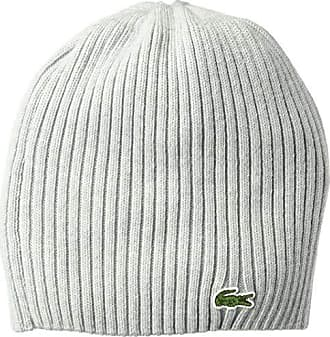 Lacoste Mens Classic Wool Ribbed Knit Beanie, PLUVIER Chine, One Size