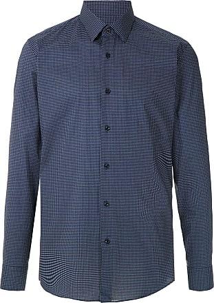 BOSS Camisa com abotoamento estampada - Azul