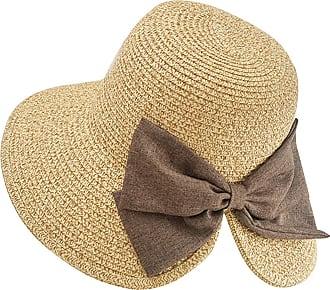 Yidarton Womens Summer Sun Hat Floppy Wide Brim Foldable Bowknot Outdoor Beach Straw Hat UPF50+ (5-Beige)