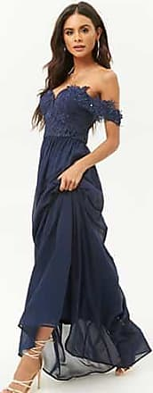 Forever 21 Forever 21 Soieblu Beaded Lace-Bodice Gown Navy