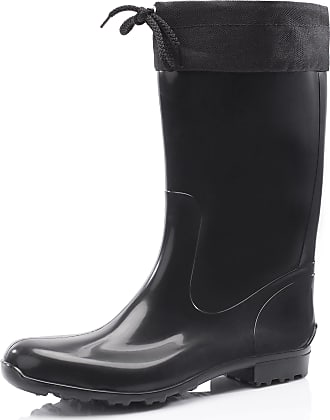 Ladeheid Womens Rubber Wellington Boots with Calf LA-968 (Black/Black, 7.5 UK)