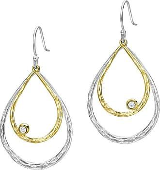 Dower & Hall Sterling Silver & 18ct Gold Vermeil Large Double Teardrop White Topaz Dewdrop Earrings