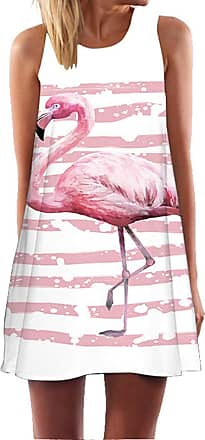 Ocean Plus Womens Summer Casual Top Flamingo A-Line Sleeveless Dresses Leaves Cover-up Western Without Sleeves Beach Dress Party Dress (XXL (UK 16-18), Pink Stri
