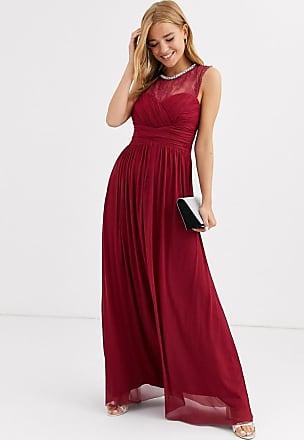 Lipsy Vestito lungo lampone arricciato con carré di pizzo e collo decorato-Rosso