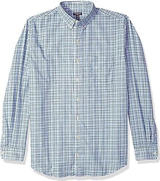 Van Heusen Mens Big and Tall Flex Long Sleeve Button Down Stretch Tattersal Shirt, Aqua Midnight, Large