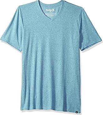 Hurley Mens Short Sleeve Staple Tri-Blend Crew Neck and Vneck Tee Shirt, Noise Aqua/Ocean Bliss, XL