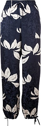 Warm floral pattern track trousers - Azul