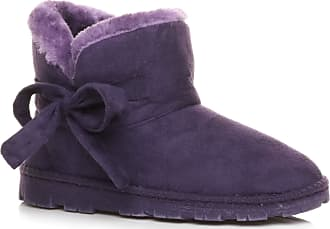 Ajvani Womens Ladies Flat Pull on Comfort Fur Lined Winter Warm Ankle Boots Slippers Indoor Booties Size 8 41 Purple