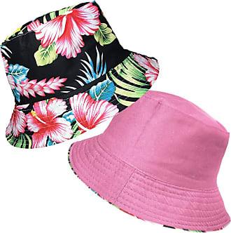 TOSKATOK Ladies Womens Reversible Cotton Retro Floral Bush Bucket Sun Hat-CER/Blk