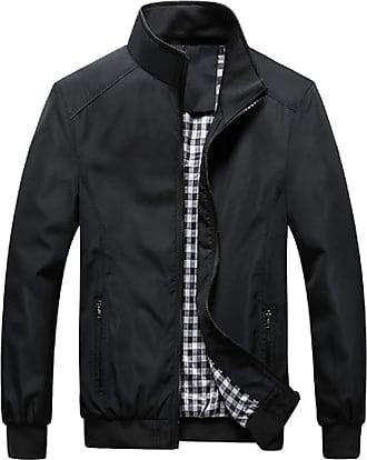 Inlefen Mens Casual Jacket Outdoor Sportswear Windbreaker Lightweight Keep Warm Slim Fit Stand Collar Coats(Black/3XL)