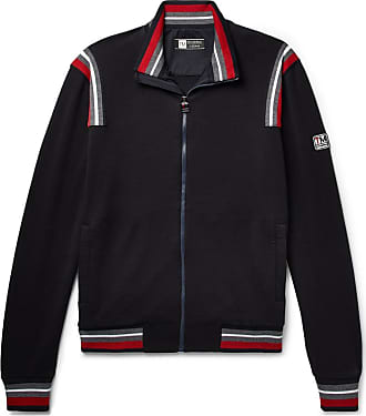 Ermenegildo Zegna Stripe-trimmed Loopback Techmerino Wool-jersey Track Jacket - Navy