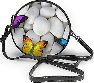 Turfed White Stone Colorful Butterfly Fashion Round PU Crossbody Handbag Round Shoulder Bag For Women Girls