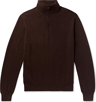 Ermenegildo Zegna Slim-fit Nubuck-trimmed Cashmere Half-zip Sweater - Dark brown