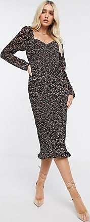 Missguided plisse midi dress in floral print with long sleeves-Multi
