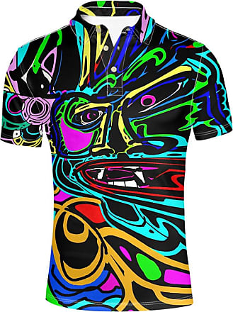 Hugs Idea Graffiti Fashion Mens Pique Sport Shirt Slim Fit Short Sleeves T-Shirt Tee Tops