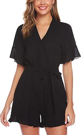 Abollria Playsuits for Women Elegant V-Neck Tie Waist Boho Casual Short Romper Jumpsuit Black