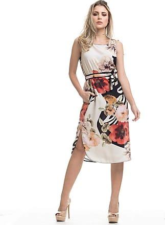 Clara Arruda Vestido Clara Arruda Midi Bolsos Estampado 50485-40 - Floral Branco
