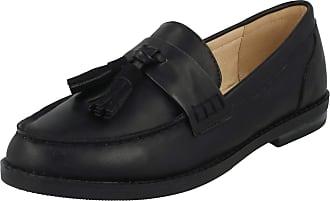 Spot On Ladies Tassel Trim Loafers - Black Synthetic - UK Size 3 - EU Size 36 - US Size 5