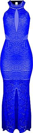 Outlet Dri Vestido OutletDri Rendado Gola Alta Decote Tule Frontal Lateral Fenda Azul