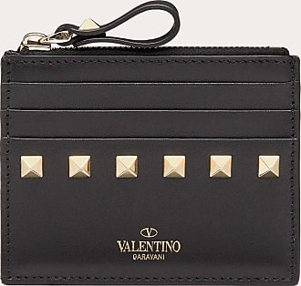 Valentino Garavani Valentino Garavani Portacarte Rockstud In Vitello Con Zip Donna Nero 100% Pelle Di Vitello - Bos Taurus OneSize