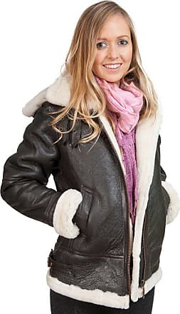 Infinity Womens Brown Hooded Sheepskin Flying Leather Jacket with Cream Fur M