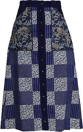 5dd1408b86 Mary Katrantzou Mary Katrantzou Woman Velvet-trimmed Printed Paneled  Cotton-gabardine Midi Skirt Indigo