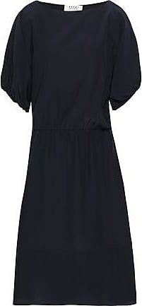 Marni Marni Woman Gathered Crepe De Chine Midi Dress Midnight Blue Size 38