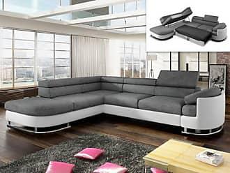Venta-Unica.com Sofá cama rinconero tapizado de tela y piel sintética MYSEN - Blanco y gris- ángulo izquierdo
