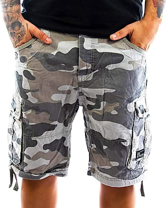 Crosshatch Mens Camo Cargo Shorts Jimster Top New Summer 2019, Charcoal, Waist 40