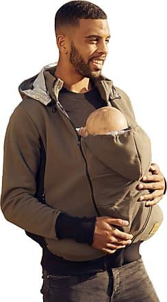 Happy Mama Mens Kangaroo Hoodie Dad and Baby Carrier Coat Holder Pullover 1177 (Khaki, UK S,)