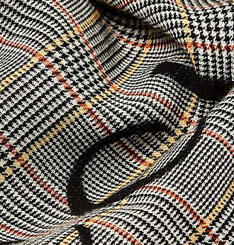6a771a68ce6 Gucci Fringed Logo-print Prince Of Wales Checked Wool Scarf - Gray