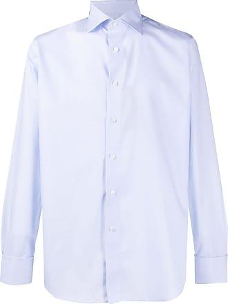 Canali Camisa lisa com botões - Azul
